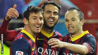 Barcelona trio Lionel Messi (left), Cesc Fabregas (centre) and Andres Iniesta