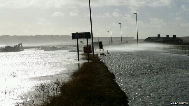 Flooding on Portland Beach Road on 15 February