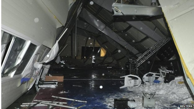 The interior of the collapsed building