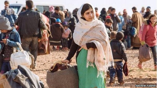 Malala Yousafzai visiting the border and helping refugees with their bags, as part of her campaign for children's education