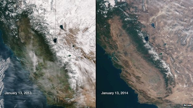 This image obtained from the National Oceanic and Atmospheric Administration (NOAA) shows snow and water equivalents in the Sierra Nevada mountain range in California abnormally low for January 2014 compared to the same time in 2013