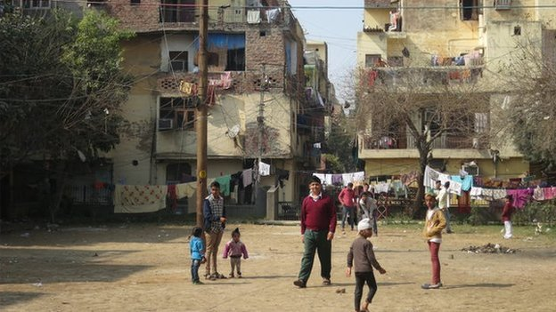 Image taken by the BBC's Andrew North shows children playing in the streets in Tilak Nagar
