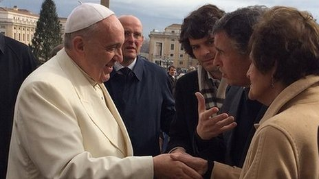 Pope Francis met Philomena Lee (right) and Steve Coogan (second right)
