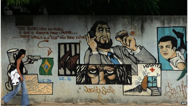 Sao Paulo grafitti on wall of the Carandiru prison complex (2006)