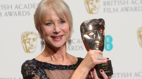 Dame Helen Mirren with her Bafta Fellowship award