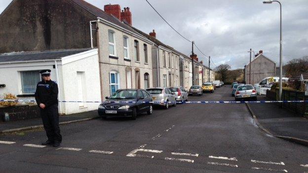 Police tape in Pontyberem