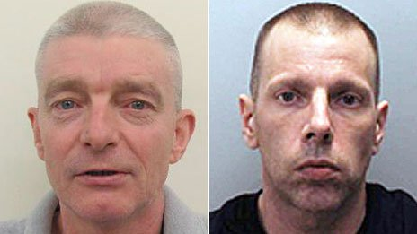 Murderers Ian McLoughlin (L) and Lew Newell (R)