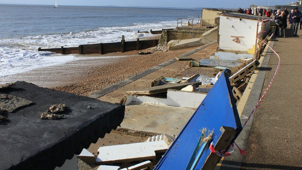 Milford on Sea storm damaged beach huts