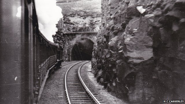 Steam train enters Queensbury Tunnel