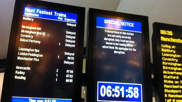 Departure boards at Oxford Station