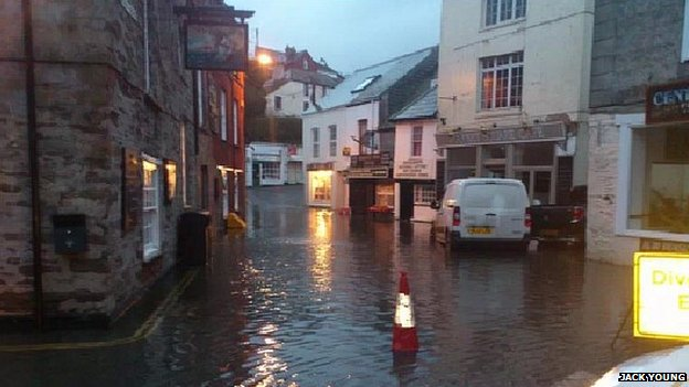 Flooding in Mevagissey on Monday 3 February