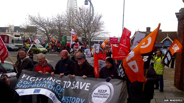 GMB and Unite members march in Portsmouth