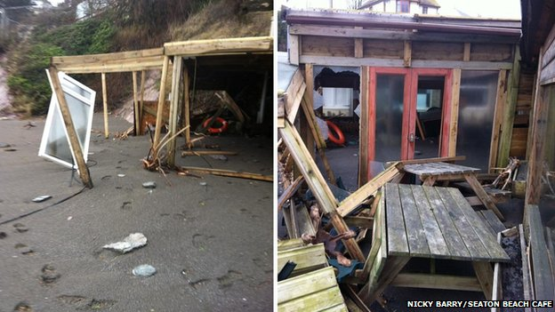 Storm-damaged Seaton Beach Cafe