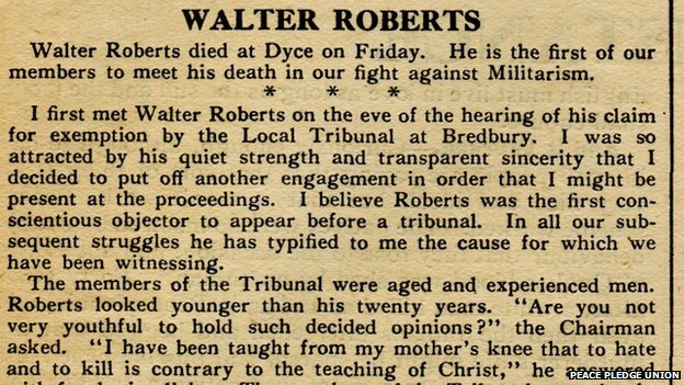 Walter Roberts's obituary in the Tribunal newspaper