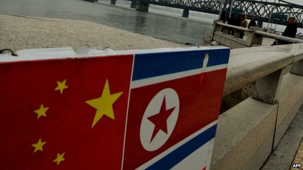 The Chinese and North Korean flags attached to a railing near the Sino-Korean Friendship Bridge at the Chinese border town of Dandong