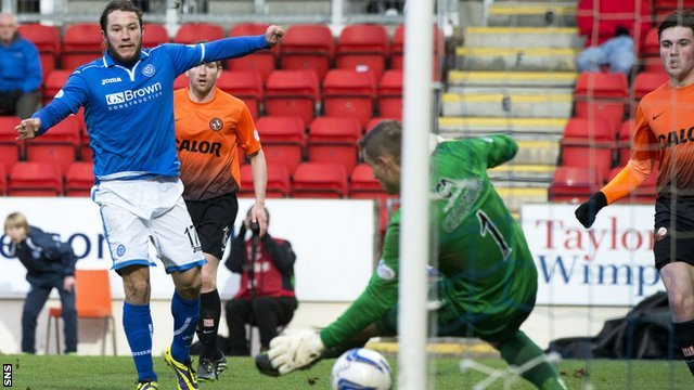 Stevie May scores against Dundee United