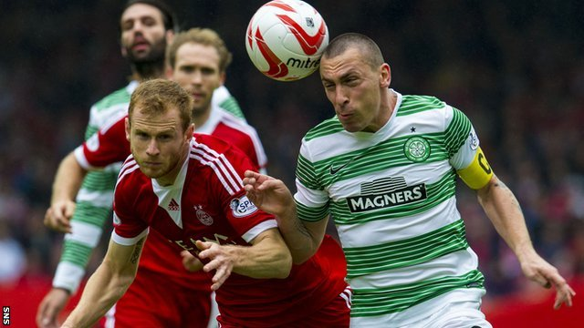 Aberdeen's Mark Reynolds battles with Celtic's Scott Brown