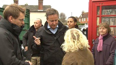 David Cameron talking to Erica Olivares