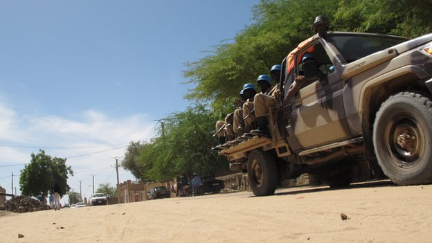A UN vehicle on a dusty Timbuktu road, Mali