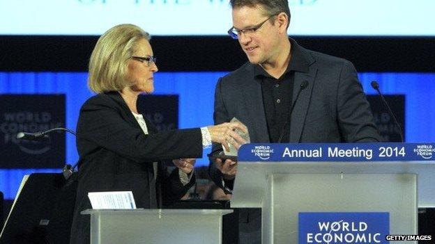 Actor Matt Damon receives an award at the World Economic Forum in Davos, Switzerland on 21 January, 2014.