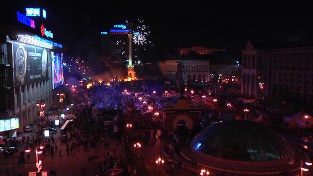Fireworks over Maidan, Kiev, Ukraine