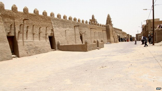 A general view of the Djinguereber mosque in Timbuktu on 30 June 2013.