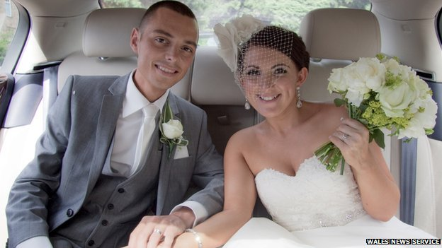 Chris Price and wife Ceri on their wedding day