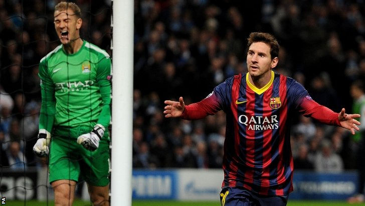 Manchester City's Joe Hart and Barcelona goalscorer Lionel Messi