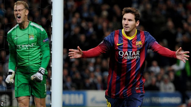 Barcelona's Lionel Messi and Manchester City's Joe Hart
