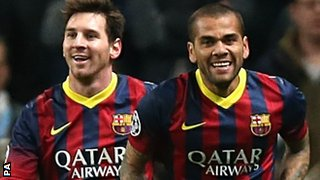 Barcelona's Lionel Messi and Dani Alves