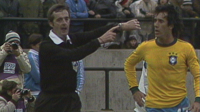 Clive Thomas blows for time after disallowing Zico's goal