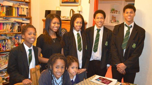 Kaddeh-Mason family (top row left to right): Jeneba (11), Isata (17), Konya (13), Sheku (14) and Braimah (16) (bottom row left to right): Aminata (8) and Mariatu (4)