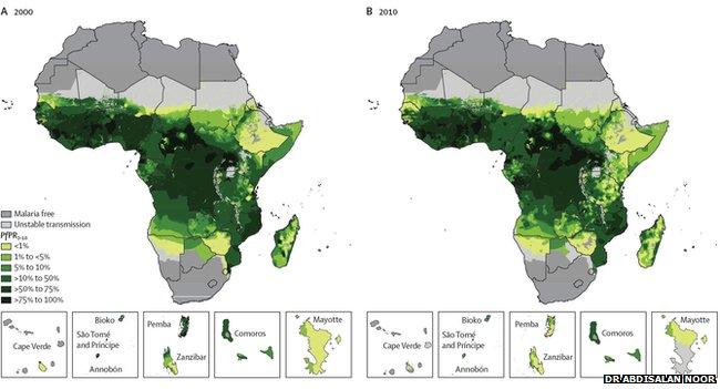 Africa malaria map