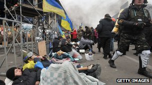 Protesters in Independence Square, Kiev.
