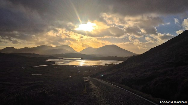 The village of Crowlitsa in Uig Bay on the isle of Lewis looks stunning even though the picture was taken during severe gales