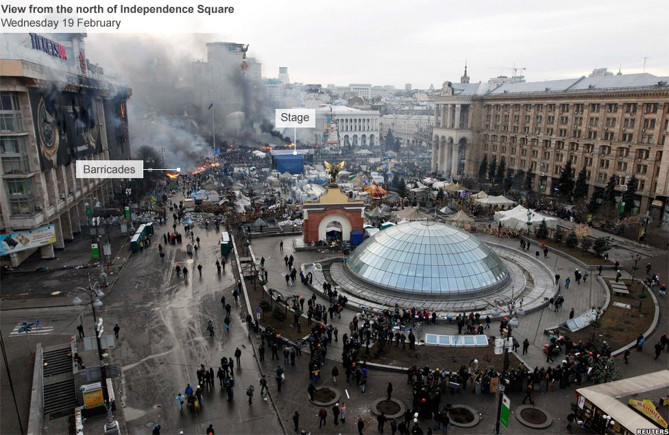 North side of Independence Square in Kiev, occupied by anti-government protesters