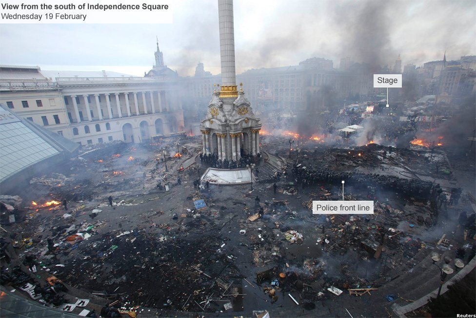 South side of Independence Square in Kiev, occupied by anti-government protesters and retaken by police