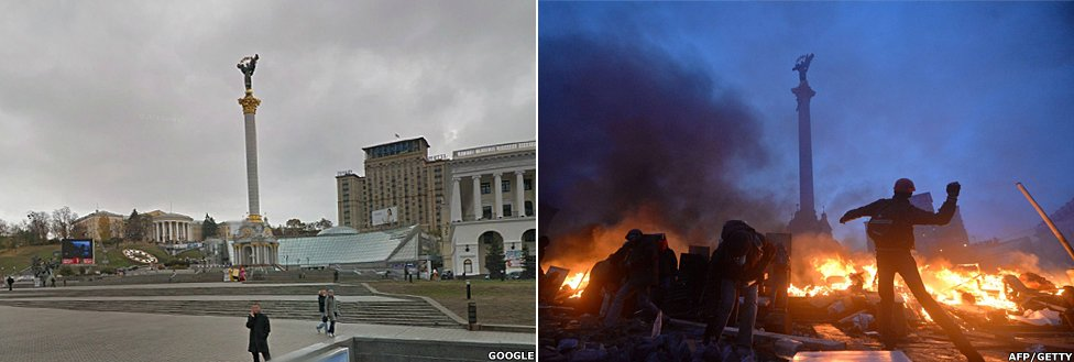 A before and after shot showing Independence Square in Kiev
