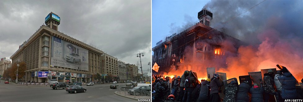 A before and after shot showing the riots in Independence Square, Kiev