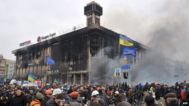 The remains of the Trade Union building on Kiev's Independence Square on Wednesday - set on fire late on Tuesday during clashes between anti-government protesters and riot police
