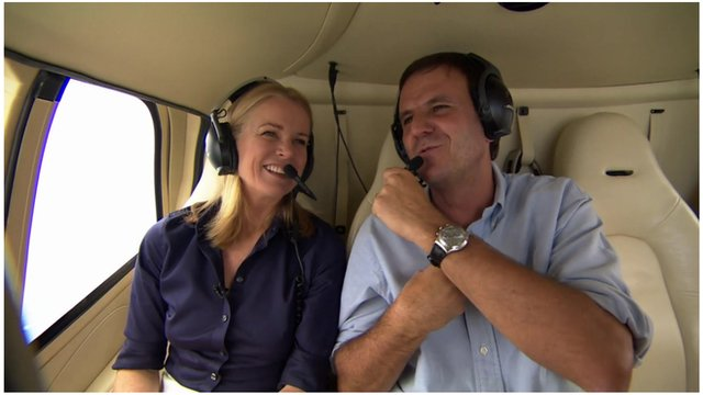 Katty Kay and Mayor Eduardo Paes on a helicopter tour of Rio de Janeiro