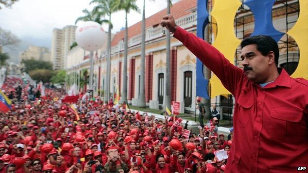 President Nicolas Maduro  during a rally in Caracas on 18 February, 2014