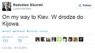 Screen grab of Polish Foreign Minister Radoslaw Sikorski's Twitter account