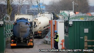 Lorries entering site drilling site in Barton Moss, Salford