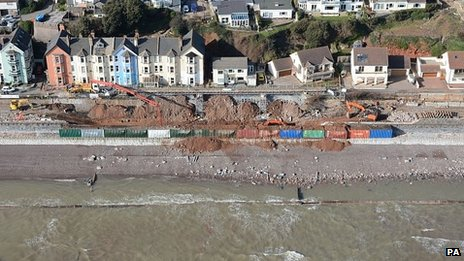 Work taking place on the rail line at Dawlish in Devon, which was swept away in the recent storms