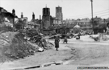Bomb damage at the junction of St Benedicts and Grapes Hill, Norwich