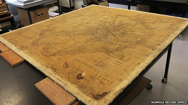 The bomb map under conservation at the Norfolk Record Office