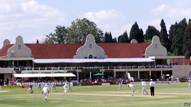 Cricketers on the field at Harare Sports Club, Harare, Zimbabwe