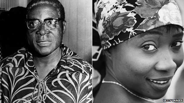 Left: Robert Mugabe in 1976 Right: Sally Mugabe in 1955