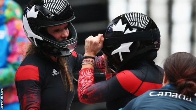 Kaillie Humphries and Heather Moyse (left) of Canada team 1